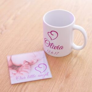 Design Your Own Two Panel Mug And Glass Coaster Set